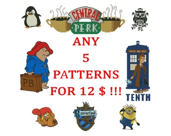 Any five Cross Stitch Patterns PDF for 12 Dollars. Sale Special Offer, Digital Download, Embroidery designs.