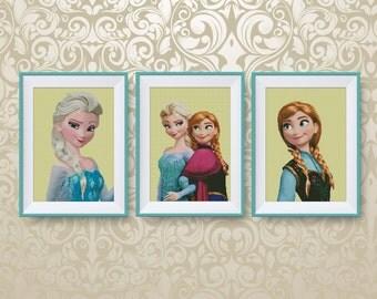 SET, Frozen heroes cross stitch pattern, Anna, Elsa, Disney princesses cross stitch pattern, Disney cross stitch, Instant Download, #P264