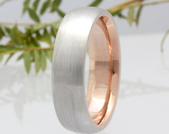 6mm 14K/18K White Gold Brushed Finish with Rose Gold Interior Wedding Band, Comfort Fit, Gold Rings,Engagement Band ,FREE ENGRAVING