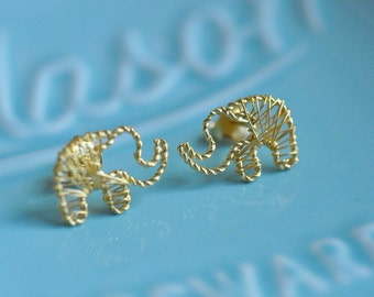 100% Sterling Silver Gold Plated Wire Wrapped Elephant Earrings in Gold, Sterling Silver Earrings, Elephants, Animal Lover Earrings