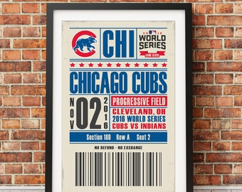 Chicago Cubs 2016 World Series Championship Retro Ticket Print