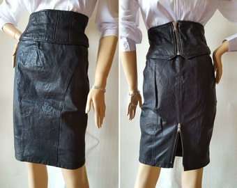 High-waist pencil Skirt with belt PINKO 80s Authentic Vintage LEATHER Made in Italy