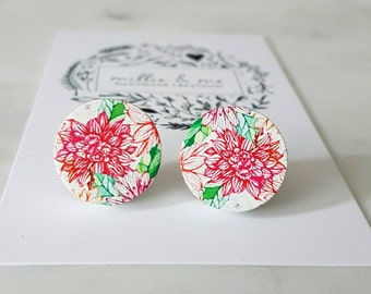Wooden flower disc earrings