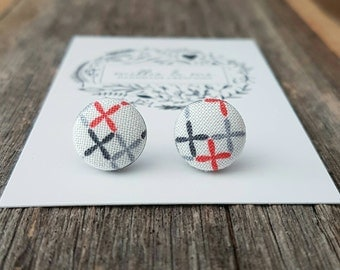 Fabric earrings/ fabric button earrings/ fabric buttons/ fabric/ gift for her