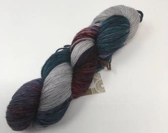 Indie Dyed Yarn on Merino cashmere Nylon MCN gray green red speckled  blue