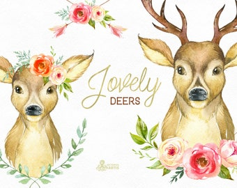 Lovely Deers. Watercolor deers with flowers, hand painted clipart, floral, invite, country, diy, horns, flowers, boho, bridal, romantic