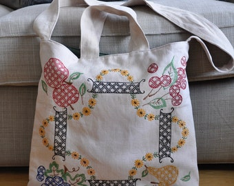 Vintage Embroidered Linen Tote