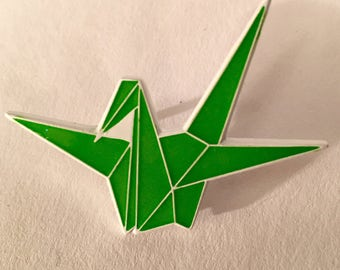 White/Green Glow Origami Crane Lapel Pin