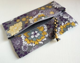 Foldover Zippered Clutch. Floral Clutch. Purple, Gray, Mustard Yellow