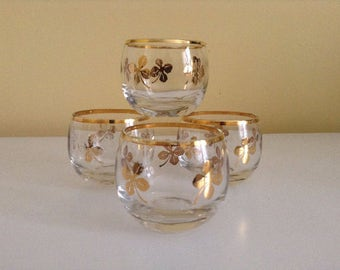 Vintage Shot Glasses with Gold Accents - Set of 4