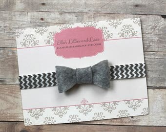 Gray Baby Headband, Baby Girl Bow Headband, Newborn Headband, Grey Baby Headband, Hair bow Headband, Grey chevron headband, Baby shower gift