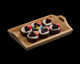 Dollhouse Miniatures Handcrafted Clay Round Apple and Blueberry with Cream Topped on Chocolate Muffin on Wooden Bakery Tray - 1:12 Scale