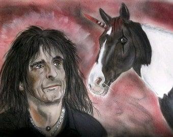 Alice Cooper with his unicorn, Ivor