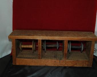 Vintage Hand-made 3 Wooden Spool Flywheel Fishing Line Feeder  01269