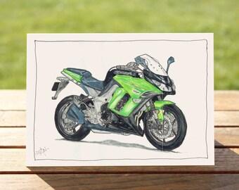 "Motorcycle Gift Card - Green Sportsbike | A6: 6"" x 4"" / 103mm x 147mm | Motorbike Gift Card, Motorcycle Card"