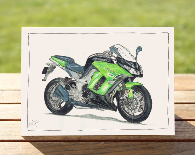 "Motorcycle Gift Card - Kawasaki Ninja 1000 | A6: 6"" x 4"" / 103mm x 147mm | Motorbike Gift Card, Motorcycle Card"