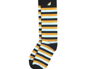 "Black & Gold / Yellow Men's Dress / Casual Wedding Stripe Socks - Fun Colorful - ""Jailbird"" Christmas Holiday Gift Stocking Stuffer"