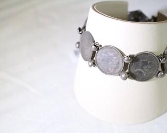 Sterling Silver WW1 Six Pence Bracelet