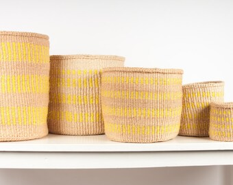 Natural and Yellow Vertical Stripes Woven Baskets