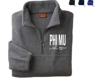Phi Mu   // Sorority Embroidered Fleece Quarter Zip Jacket (Shorelines) // Pullover