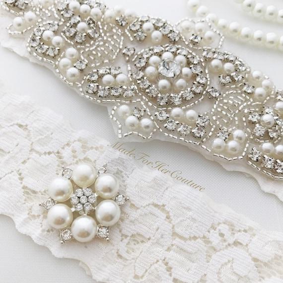 Vintage Lace Wedding Garter Set: Ivory Wedding Garter Set Ivory Lace Bridal Garter Set