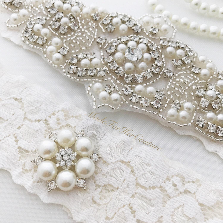 Ivory Wedding Garter Set Ivory Lace Bridal Garter Set