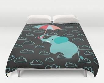 elephant with umbrella duvet cover elephant bedding kids bedding designer bedding bedroom