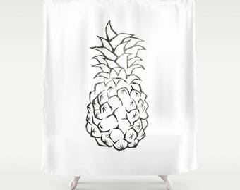Pineapple Shower Curtain - Tropical Shower Curtain - Shower Curtain Design - Bath Curtain - Bathroom Decor - Summer Fruit - Black and White
