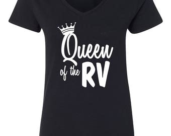 Queen of the RV Camping Womens Short Sleeve V Neck T - Shirt Top