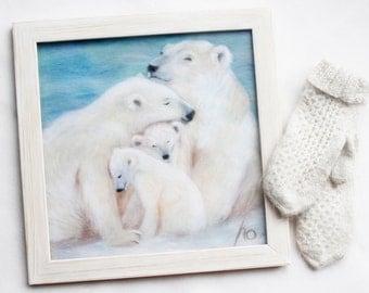 Wool painting, Framed felted wool picture, Custom polar bears family portrait, Fiber wall art, Polar bears painting, Housewarming gift, OOAK