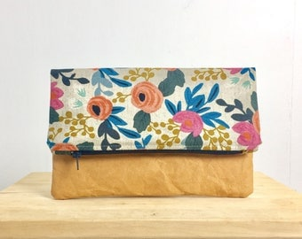 Fold over clutch with Rifle Paper Co. floral fabric and washable paper - Medium size // zipper pouch // handbag