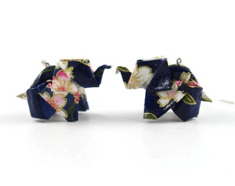 Earrings origami - Elephant cherry blossoms - Origami - Japanese paper