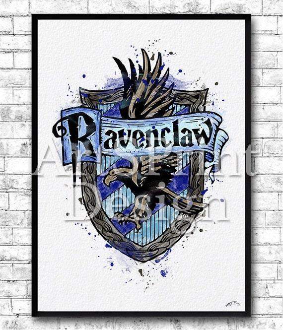 Instant digital download ravenclaw crest 2 watercolor print - Crest home design curtains ...