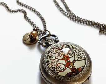 Pocket Watch * tree of life - Klimt * sautoir necklace cabochon glass and bronze