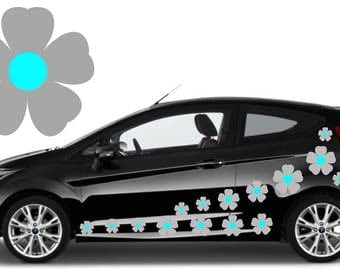 32,silver & blue flower car decals,stickers in three sizes