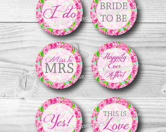 Lilly Pulitzer Cupcake Topper Printable INSTANT DOWNLOAD - First Impressions Bridal Cupcake Toppers 2 inch - Bridal Shower - Bridal Toppers