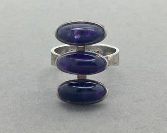 Vintage Modernist Amethyst Sterling Silver Ring Signed M.I.F.G., February Birthstone Boho