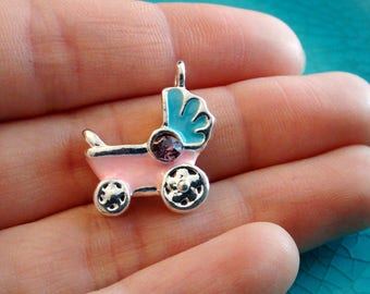 3D pink baby stroller charm baby charm birth pendant jewelry making metal charm bracelet charm silver plated