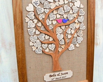 Wedding Tree Guest Book, Alternative Guest Book, Message Tree With Frame, Guest Message Tree Idea, Heart Guest book