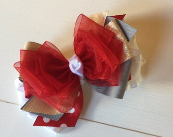 Beautiful stacked bow~red, grey, white and gold bow~ stacked bow