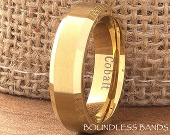 Cobalt Ring Yellow Gold Wedding Band 6mm Beveled Brushed Ring Mans Womens Anniversary Promise Engagement Comfort Fit His Hers Custom Made