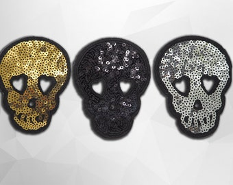 Skull Sequin Iron on Patch (M) - Sequin Skull,Glitter Applique Iron on Patch - Size 6.5x8.5 cm