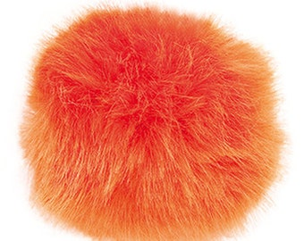 Pom Pom fake fur 1o cm diameter in the colour orange for crazy hats as keyring or for your mirror in the car pompom are multipurpose