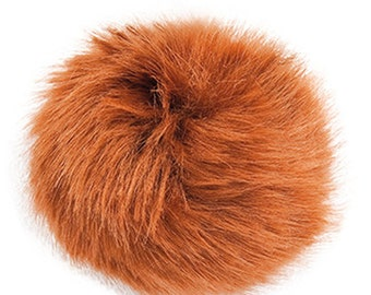 Pom Pom fake fur 1o cm diameter in the colour fawn/fox brown for crazy hats as keyring or for your mirror in the car pompom multipurpose