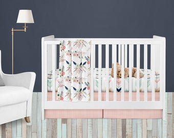 Crib Sheet, Crib Skirt & Cuddle Blanket Set -Gracie Collection by Fabricology / Woodland Floral  / Navy / Mint / Coral / Baby Bedding