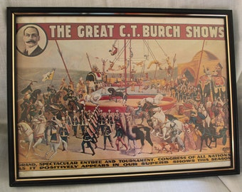 Framed Circus Print-The Great CT Burch Shows
