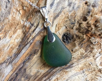 Large Green Sea Glass Pendant