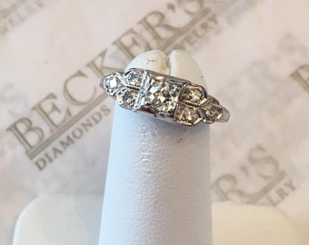 Antique Art Deco Platinum, Old Mine Center Diamond & 6 Round Diamond Ring .29 tw GHI-SI2-I1, size 7.25
