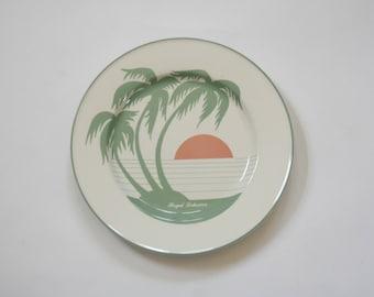 Vintage Palm Tree Sunrise Tropical China Plate - Royal Lahaina
