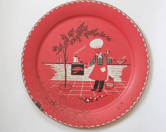 Vintage 1950s Stoyke BBQ Platter - Large Party Plate - Zig Zag Trim - Man Cooking Novelty Print - Red Home Decor